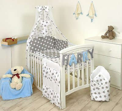 Stars On Grey/White Baby Bedding Set Cot Cot Bed - Covers, Bumper, Canopy+More