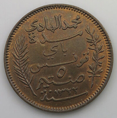 TUNISIA 5 CENTIMES 1904 TOP #jy 355