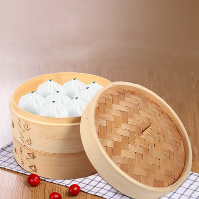 "Bamboo Chinese Food Steamer Dim Sum Basket Rice Cooker Set 2 Tier 8"" with Lid AM"
