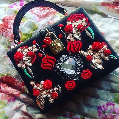 Vintage Leather Style Bag, With Embroidered Roses And Charm, GIFT!! * UK SELLER*