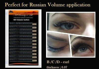 Russian Volume Lashes 3D Individual Eyelash Extensions 0.07 C /14mm