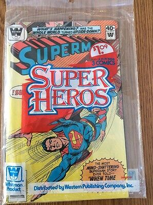 DC Whitman 3 Pack Unopened Sealed 3 pack Comics Superman (Rare Clear Logo)