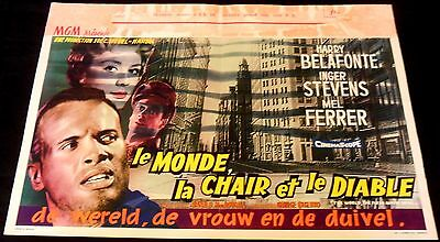 1959 The World, the Flesh and the Devil ORIGINAL BELGIAN POSTER Iconic SCI-FI