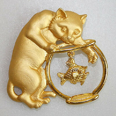 Jj Vintage Cat In A Fishbowl Articulated Signed  Brooch
