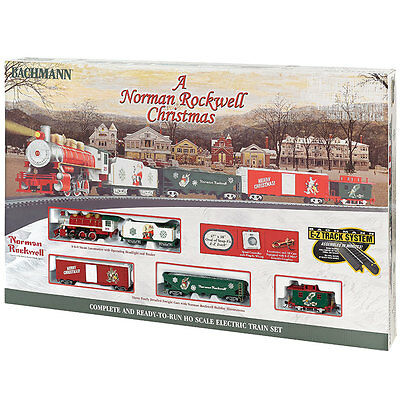 Bachmann HO Scale Norman Rockwell Christmas Electric Train Set Locomotive Track