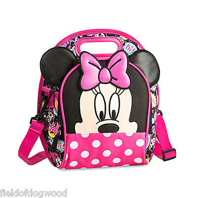 NWT Disney Store Minnie Mouse Club House Lunch Box Bag Tote School Pink Girl