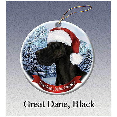 Great Dane Uncropped Black Howliday Porcelain China Dog Christmas Ornament