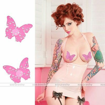 2pcs Nipple Cover Sticker Bra Pad Patch Pasties Disposable #Pink Butterfly
