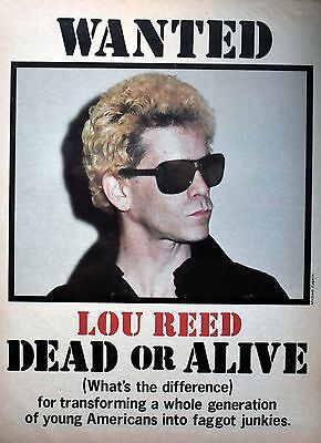 Wanted LOU REED Dead or Alive 1978 LESTER BANGS Creem Photo FREE SHIPPING!