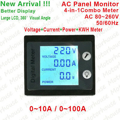 AC Power Meters Monitor Digital Electric 4 in 1 Combo Meter 110v 230V Large LCD