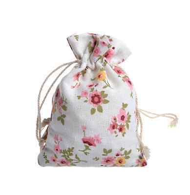 10x vintage Flowers Linen Drawstring Jewellery Gift Candy Packaging bags 10*14cm
