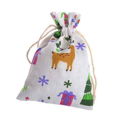 10x vintage Linen Drawstring Christmas Gift Packaging Pouches Candy Bags 10*14cm
