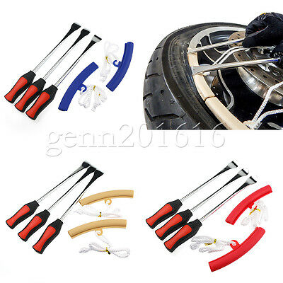 3x Tire Lever Tool Spoon Motorcycle Tire Iron Changing + 2x Wheel Rim Protectors