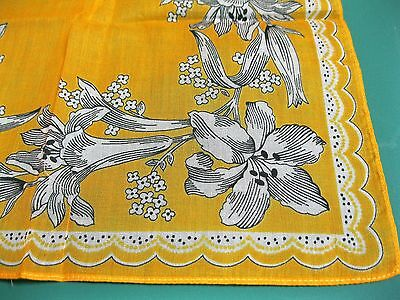 "Vintage Handkerchief, Yellow with White & Black Floral Print, 12.25"" Square"