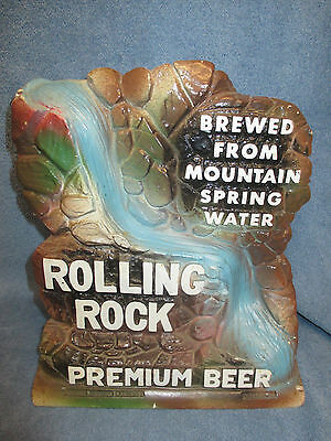 Rolling Rock Beer Chalk Figurine Brewed From Mountain Springs Water Falls Sign