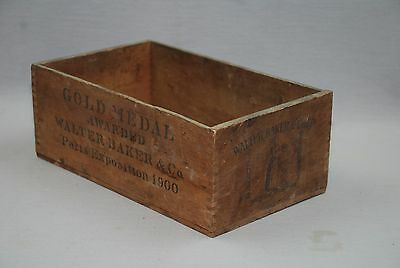 Antique Walter Baker Chocolate Wood Box 1900 Paris Expo Gold Medal Awarded 10x6""