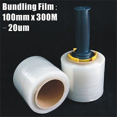 4x Bundling Film 100mm x 300m 20um Clear Stretch Wrap Pallet Wrapping+ Dispenser
