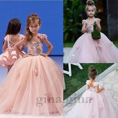 PINK Flower Girl Wedding Bridesmaid Party Prom Princess Communion Pageant Dress