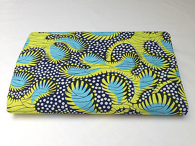 African Fabric GUARANTEED WAX PRINT 100% cotton, 6 yards, quilting material