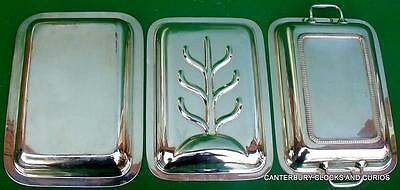 Antique English Sheffield Silver Plate Large Three Piece Serving Tray Tureen