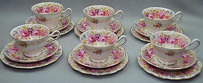 "6 pl settings 18 pc lot ROYAL ALBERT TRIO ""SERENA"" Tea Cup Saucer Underplate"
