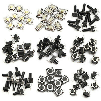 140PCS 14 Types Tactile Switches Push Button Momentary Tact Mini SMD Pushbuttons
