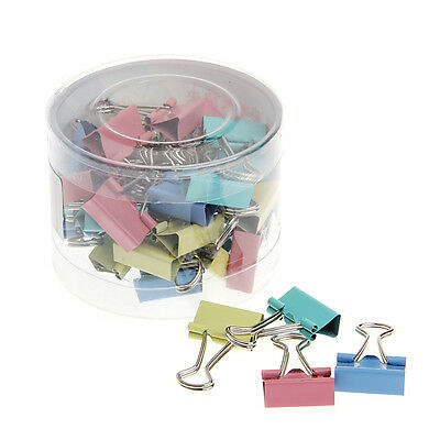 40Pcs Colorful Metal Binder Clips File Paper Clip Office Supplies 19mm Width