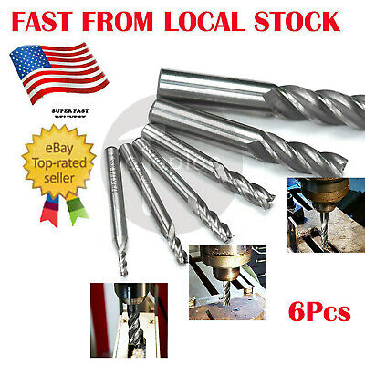 """6Pc HSS 4 Flute End mill Cutters CNC Milling Cutting Tools Set Shank 1/8 to 5/8"""""""