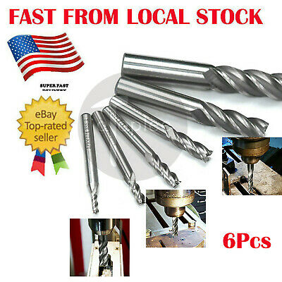 6Pc HSS 4 Flute End mill Cutters CNC Milling Cutting Tools Set Shank 1/8 to 5/8""