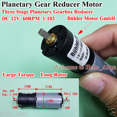DC12V Planetary Gearbox Reducer Gear Bühler Motor Large Torque Long Rotor 60RPM