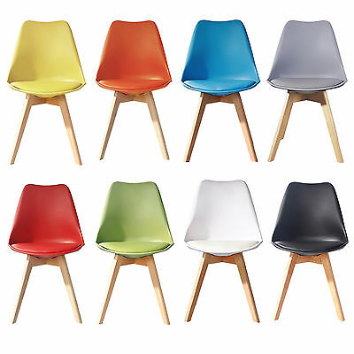 Jamie NATURAL Dining Chair Wooden Retro Designer PU Soft Pad Faux Leather Panton