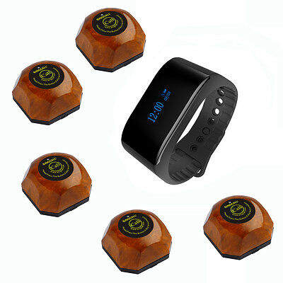 SINGCALL Wireless Calling Pager Systems 1 New Waterproof Watch, 5 Waiter Pagers
