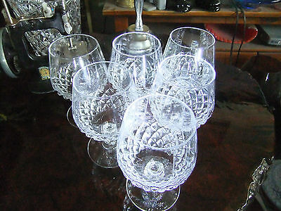 SIX VINTAGE CRYSTAL BRANDY BALLOONS, Cristal D'arques, perfect