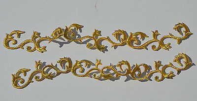 2pcs Gold Scroll 22cm (Fault) Embroidery Sew Iron On Cloth Patch Badge APPLIQUE