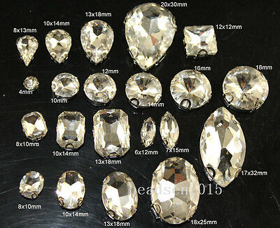 Glass clear Sew on D claws MONTEES Faceted Crystal Rhinestones Drop/navette/oval