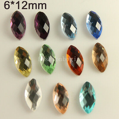 30 6x12mm crystal faceted glass foiled flatback rhinestones navette Gems Buttons