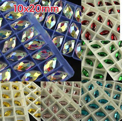 18 10x20mm leaf shape flatback cut glass crystal sew on rhinestones beads Gems