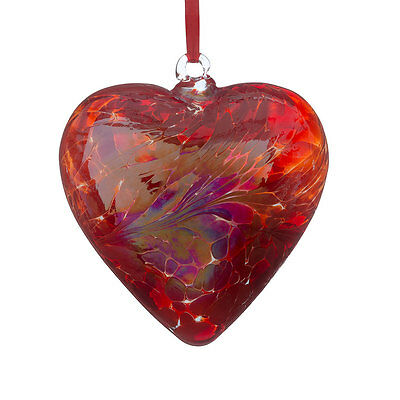 Glass Friendship Heart, 8cm Red By Sienna Glass - with Free Stand!