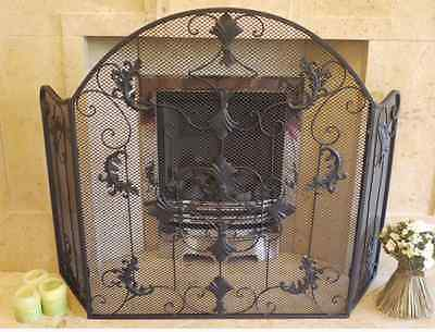Vintage Tradtional Victorian Style Antique Black Scroll Fire Guard/screen