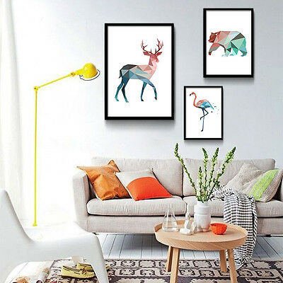 Colorful Geometry Deer Flamingo Animal Minimalist Art Canvas Poster Painting 209
