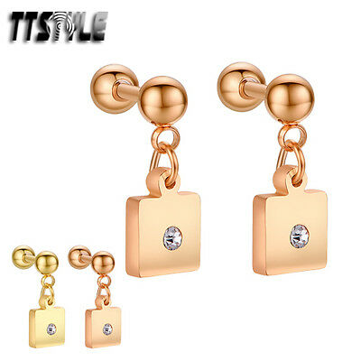TTstyle Surgical Steel Dangle Cartilage Tragus Square Earrings Pair Gold/Rose