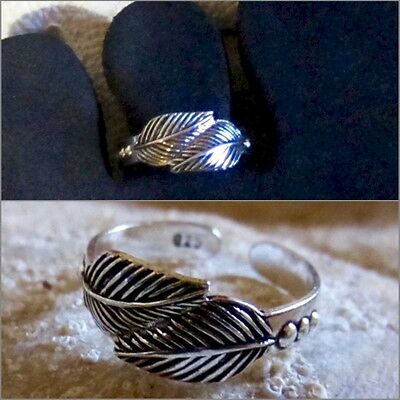 Toe Ring Sterling Silver 925 Double Leaf Design Adjustable Solid Band Women Midi