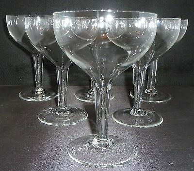 Set 6 1950's Quality Hollow Stem Champagne Bowls Glasses Perfect Condition