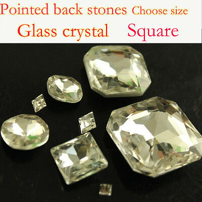 Clear square crystal Rhinestones Faceted Pointed foiled Back Glass beads pk size