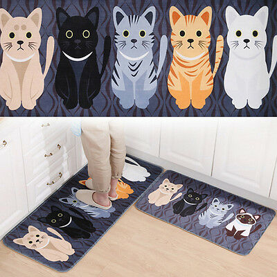 Kawaii Welcome Floor Cat Print Bathroom Kitchen Carpets House for Anti-Slip Rug