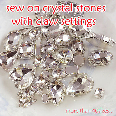 Clear glass sew on foiled crystal rhinestones Diamante drop/rectangle/navette pk