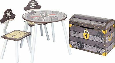 Table and chairs with chestbench -PIRATE- Wooden Set Kids Children Play Toybox