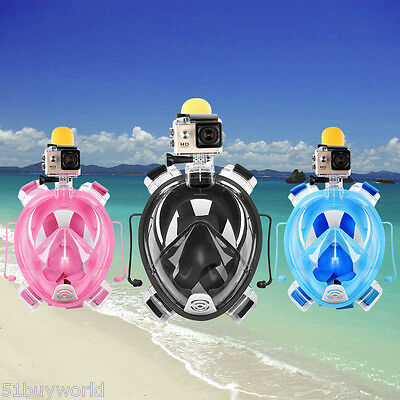 Anti-fog Full Face Mask Scuba Diving Swimming Snorkel Set Breather for Gopro Cam