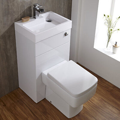Series 300 Space Saving Bathroom White Combination Toilet WC & Basin Sink Un