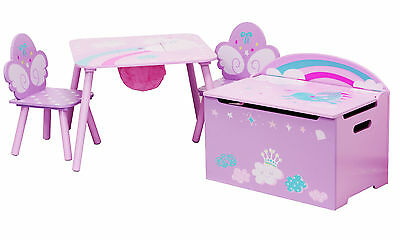 Table and chairs with chestbench - UNICORN - Wooden Set Kids Children Toybox